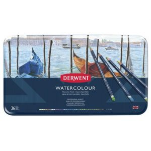 Crayons aquarellables 36 watercolour coffret metal Derwent