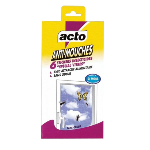 Stickers insecticides anti mouches Acto