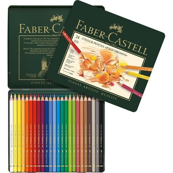 Crayon Polychromos boîte métal de 24 pièces Faber Castell