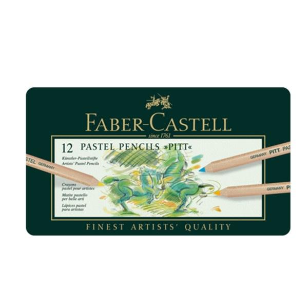 Crayon Pitt Pastel boîte métal de 12 pièces Faber Castell