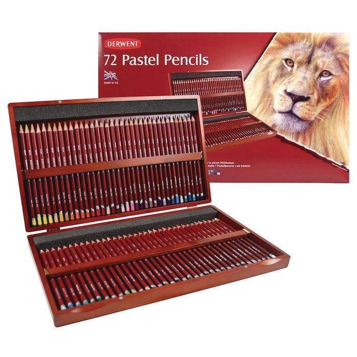 Crayon pastels coffret bois 72 pastels Derwent
