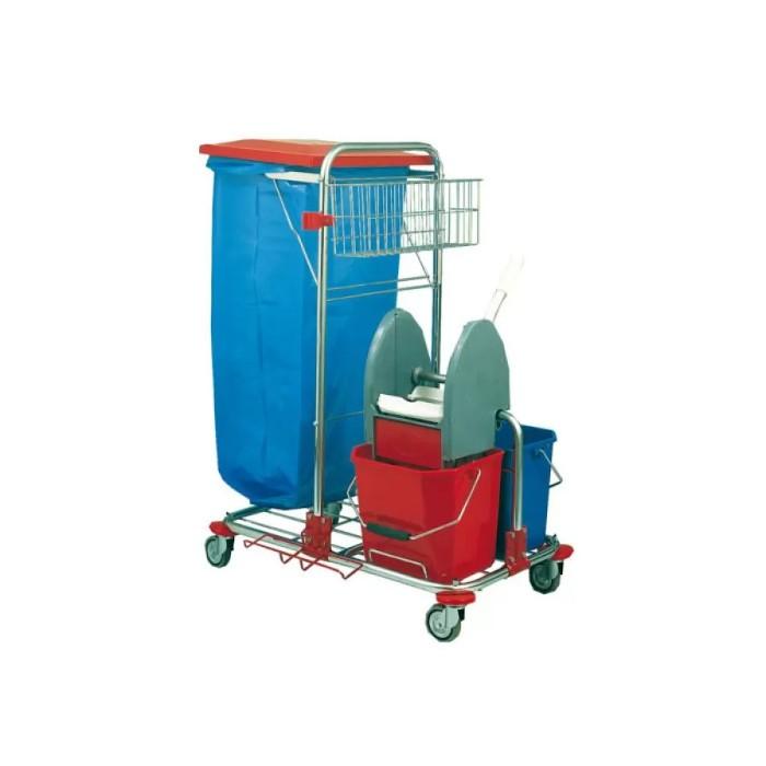 Chariot ménage/lavage acier chromé 2x12L Léa Azurdi