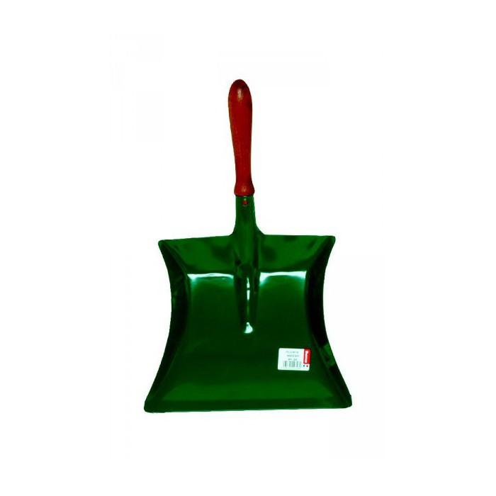Pelle à poussière métal laqué vert manche bois